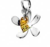Reiki Jewels 925 Silver Flower and Heart Shaped Pendant with Brass Plated Heart and 46cm Belcher Chain