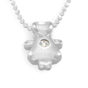 Sterling Silver Cubic Zirconia Doll Shape Loving Heart Pendant / Necklace with 16' Silver Bead Chain