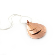 Large Solid Copper Triple Curved Oval Drop Pendant and 925 Silver Chain Necklace Jewellery Gift 45cm / 17.7""