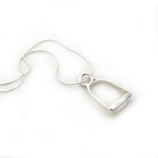 """Solid 925 Silver Equestrian Horse Stirrup Drop Pendant and Chain Necklace Jewellery Gift 45cm / 17.7"""""""