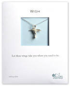 Lily Charmed - Sterling Silver Silver Hummingbird Necklace, with 'WISH' message card