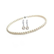 StunningBoutique Cultured Freshwater Pearl Necklace 8-9mm 18 inches White Pearls Necklace & Pairs of 925 Sterling Silver Drop Earring Set as FREE Gift *Presented in gift Box*
