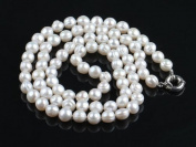 30 inches Long Rope 10-11mm Round Shape White Fresh Water Pearl Necklace