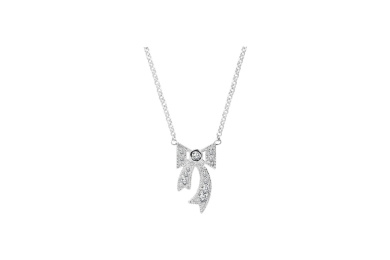 Silver White CZ Bow Necklet