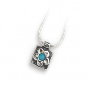 Casteliano - Neck chain 925 Handmade silver chain and pendent, square shape daisy flower set with opal stone , 46cm inch