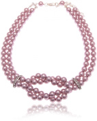 Claire Garnett 8mm Pale Lilac Glass Pearl Necklace with 2 Crystal Spacers