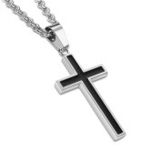 Honeystore Men's Titanium Steel Rolo Chain Cross Pendant Necklace Colour Black Silver Length 50cm