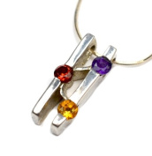 Modern Abstract 925 Sterling Silver With Gemstone Crystals Pendant Necklace, Genuine Amethyst, Garnet, Citrine Crystals, 925 Silver Pendnat 20x7x4, 43cm Silver chain
