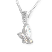 Sterling Silver Cubic Zirconia Butterfly Drop Pendant / Necklace with 16' Silver Curb Chain