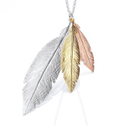 Silver three colour feather drop necklet 46cm