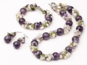 Chunky Amethyst Gemstone, Crystal, Peridot and FreshWater Pearl Matching Necklace, Bracelet and Earrings Set
