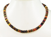 Lovely necklace of Tourmaline, multicoloured, lenght 47cm, wheel-shaped *very beautiful gemstones* wonderful handcrafted chain, amazing semiprecious stones, each one is unique! *New*