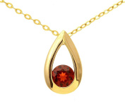 9ct Yellow Gold 0.35ct Garnet Teardrop Pendant + 46cm Chain