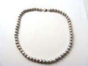 Sterling Silver 7mm Round Freshwater Pearl Necklace - Grey