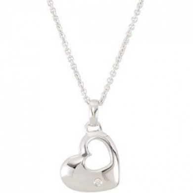 Sterling Silver Rough Diamond Heart Necklace .01ct - JewelryWeb
