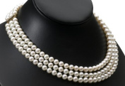 Triple Strand Pearl Necklace - individually selected pearls are strung on knotted silk to create a stunning 46cm necklace. RRP £140