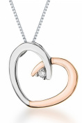 9ct Two Colour Gold 0.02ct Diamond Set Heart Pendant on Chain Necklace 46cm/18""