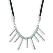 Sterling Silver 46cm Suede Necklace With Multisize Bar Design - JewelryWeb
