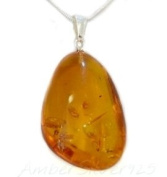 UNIQUE BALTIC AMBER PENDANT + STERLING SILVER CHAIN