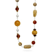 90cm Sterling Silver Wood Black Onyx Tigers Eye Carnelian and Glass Multisize Bead Necklace