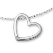 Diamond Necklace, 18ct White Gold, Diamond Heart Pendant, 42cm Chain, by Miore, M0836CW