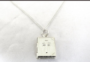 SILVER PLATED BIBLE LOCKET ON 46cm SILVER PLATED CHAIN BOXED