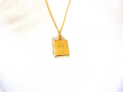 GOLD PLATED BIBLE LOCKET ON 46cm GOLD PLATED CHAIN BOXED