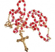 Red Rosary. Red Crystal Rosary Bead. Gold Rosary. Rosary.