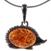 Baltic amber and sterling silver 925 designer hedgehog animal pendant jewellery jewellery