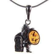 Baltic amber and sterling silver 925 designer viking warrior pendant jewellery jewellery
