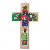 Holy Family Cross. Hand Painted Cross. Wood Cross