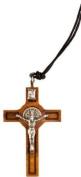 Wood Saint Benedict crucifix pendant. St Benedict cross made from wood. Wood cross crucifix.
