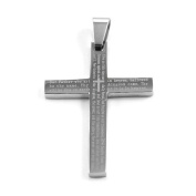 New Stainless Steel The Lords Prayer Cross Pendant With English Scripture & Free Chain - Length 60cms. Gift Packaging Included!