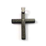 New Stainless Steel The Lords Prayer Black Cross Pendant With English Scripture & Free Chain - Length 60cms. Gift Packaging Included!