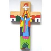 Hand Painted Wood Cross. Latin American Cross. Cross made from wood.