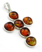 Jewellery Of The Planet 7 Round Bead Sterling Silver And Amber Medium Cross
