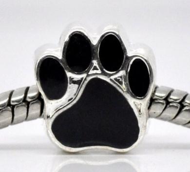 Truly Charming Silver Plated Black Enamel Animal Paw Print Charm Bead will fit Pandora Troll Chamilia Style Charm Bracelets