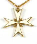 Historic Jewellery Reproduction Gold plated pewter - Girona Maltese Cross white enamel pendant - Unisex - Width 57mm