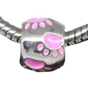 Believe Beads © 1 x Silver Plated with Pink paw prints Charm Bead for Pandora/Troll/Chamilia Style Charm Bracelets