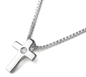 D for diamond Little Girl's Sterling Silver Cross and 36cm Sterling Silver Box Chain