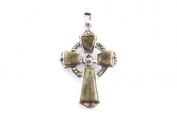 Silverspirit Jewellery Connemara Marble and Marcasite stone set Silver Cross Pendant