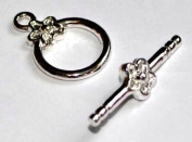 Markylis - 5 Silver Plated Toggle and Bar Jewellery Craft Clasps - Daisy Flower