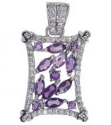 Amethyst Hallmarked Sterling Silver Pendant + Chain