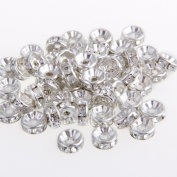 50pcs Round Rhinestone Beads Rondelle Necklace Spacer HOT