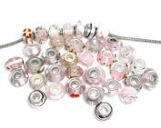 10 Assorted European Style Pink Murano Glass Charm Beads. Fits Most Major Charm Bracelets.