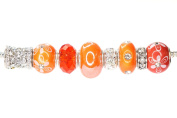 Colour Set Mix European Bead Charm Crystal Fit Pandora Chamilia Biagi Trollbeads, Pack of 8