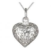 Ladies' Filigree Open Heart Pendant Necklace, Silver Curb Chain, 46cm Length, Model C/SP585
