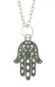 Lucky Hamsa Tibetan Silver Fatimas Hand of God Pendant