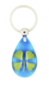 Celtic Lucky Real 4 Four Leaf Clover Good Luck Blue Keyring with Gift Box & Guarantee