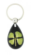 Celtic Lucky Real 4 Four Leaf Clover Good Luck Black Keyring with Gift Box & Guarantee